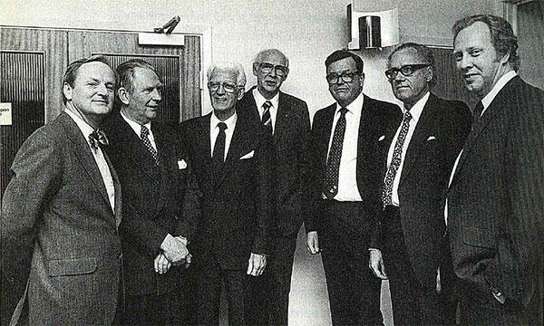 Avskedssymposium på Hässle, i mars 1983. Från vänster: Arvid Carlsson, Sven-Arne Nordlindh, Ivan Östholm, Leif Hallberg, Göran Schill, Lars Werkö och Lars Olbe.