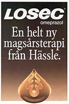 Helsidesannons från Hässle i samband med lanseringen av Losec.