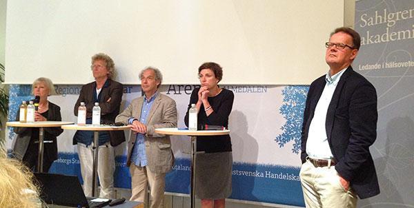 Annika Rosengren, Ove Sernhede, Henry Ascher, Malena Lau och krönikören Henrik Sjövall vid seminariet om ohälsa i förorten i Almedalen i juli 2014.