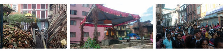 Spår efter jordbävningen, ett provisoriskt skydd för en gudabild, och processionen under Gai Jarat.
