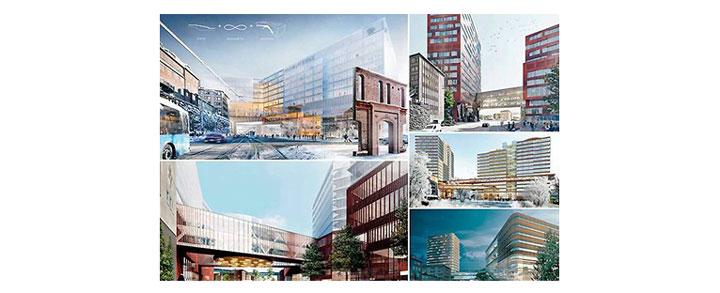 De fem tävlingsbidragen i arkitekttävlingen som avgörs inom kort.