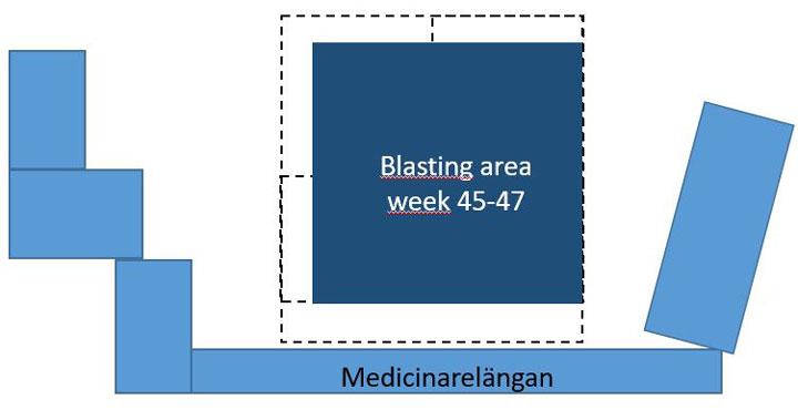 Illustration showing balsting area during weeks 45 – 47.