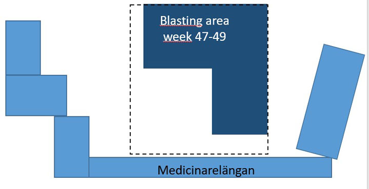 Illustration of the area where blasting takes place during weeks 47-49.