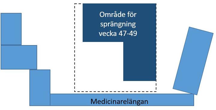 Illustration som visar området där sprängning sker under perioden.